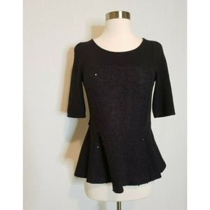 Anthropologie Deletta boucle peplum sweater XS